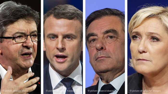Jean-Luc Melenchon, Emmanuel Macron, Francois Fillon and Marine Le Pen