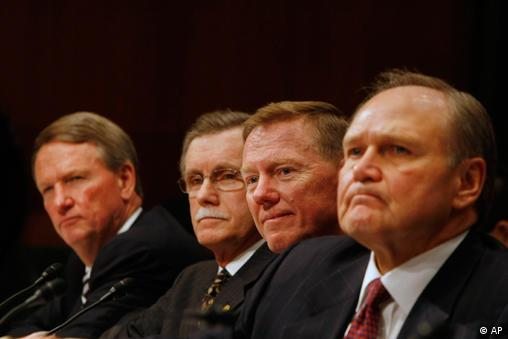 Auto executives, from left, General Motors Chief Executive Officer Richard Wagoner, UAW President Ron Gettelfinger, Ford Chief Executive Officer Alan Mulally, and Chrysler Chief Executive Officer Robert Nardelli