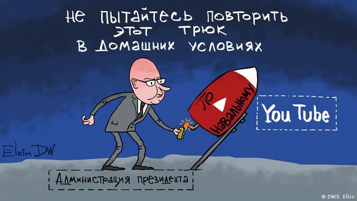 DW-Karikatur von Sergey Elkin - Navalny, Kreml (DW/S. Elkin)