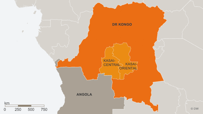 Map of DR Congo showing Kasai and Angola