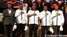 20.04.2017 +++ Kenyan opposition leaders (L-R), Musalia Mudavadi, Raila Odinga, Isaac Ruto, Kalonzo Musyoka, and Moses Wetangula sing the national anthem as they announce their National Super Alliance (NASA) coalition for the 2017 general elections in Nairobi, Kenya, April 20, 2017. REUTERS/Thomas Mukoya