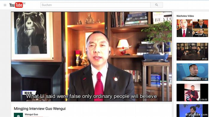 Screenshot von Interview mit Guo Wengui (youtube.com)