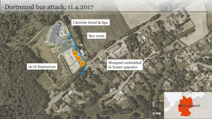 A map showing how the attack took place