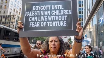 A protest by BDS activists in New York