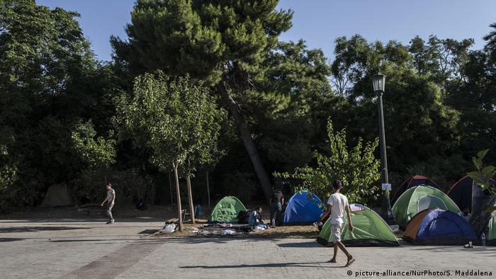Pedion tou Areos park in Athens, where young refugees and migrants