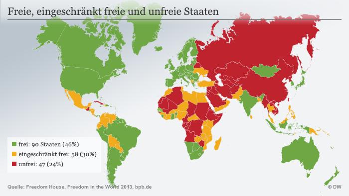 Infografik Karte Freie und unfreie Staaten in der Welt