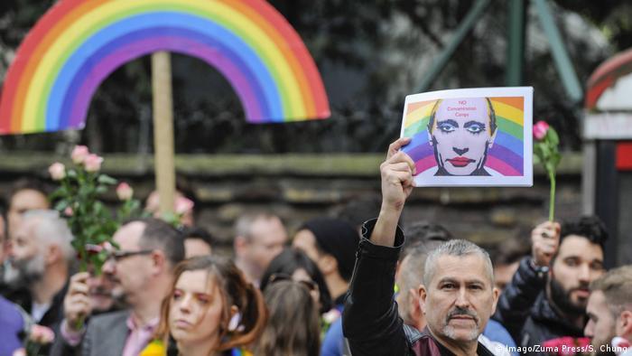London LGBT Demonstration gegen Übergriffe auf Schwule in Tschetschenien (Imago/Zuma Press/S. Chung)