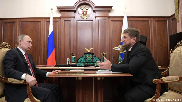 Russian President Vladimir Putin (left) meets with Head of the Chechen Republic Ramzan Kadyrov