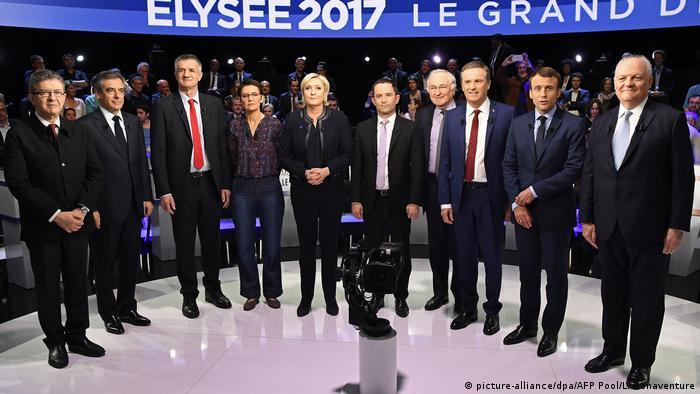 Frankeich Wahlkampf - Die Kandidaten bei TV Debatte (picture-alliance/dpa/AFP Pool/L. Bonaventure)
