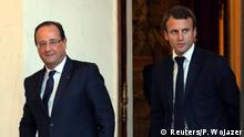 FILE PHOTO: French President Francois Hollande and economy advisor Emmanuel Macron walk in the Elysee Palace in Paris, October 1, 2013. REUTERS/Philippe Wojazer/File Photo