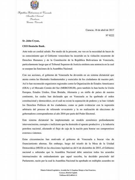 Venezuela Brief vom Parlament an den CEO der Deutschen Bank John Cryan.