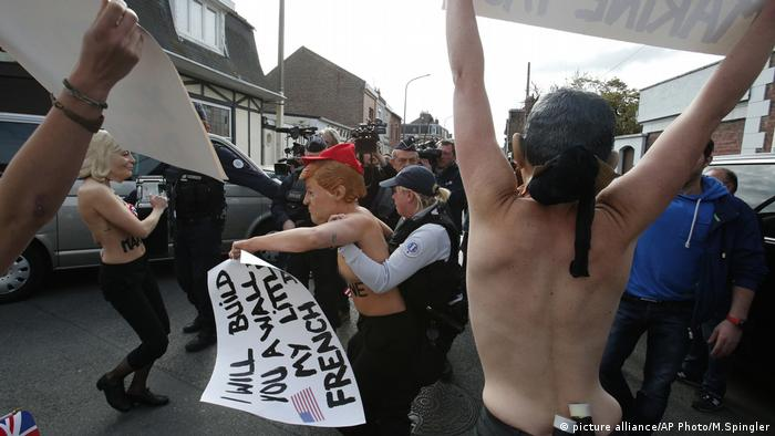 Frankreich Wahlen Femen Aktivisten (picture alliance/AP Photo/M.Spingler)