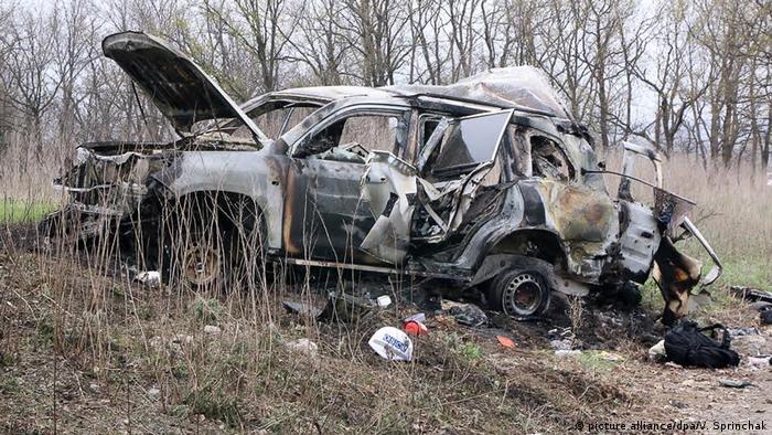 Автомобіль патруля СММ ОБСЄ, який був підірваний на міні 23 квітня