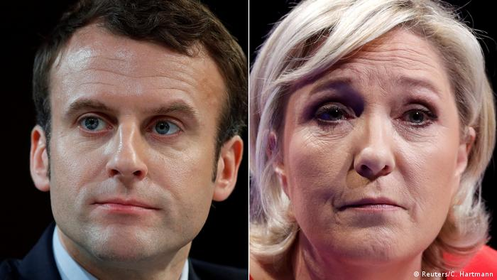 Emmanuel Macron (left) and Marine Le Pen (right) have qualified for the second round of France's presidential election