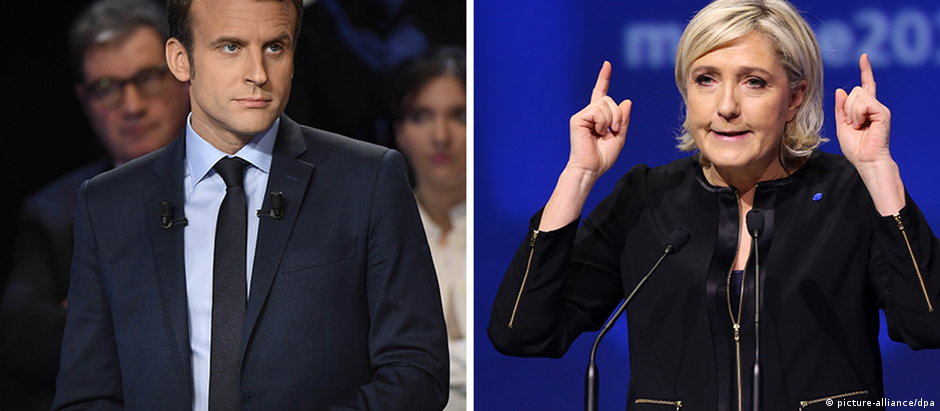 Bildcombo Frankreich Präsidentschaftswahlen Macron Le Pen (picture-alliance/dpa)