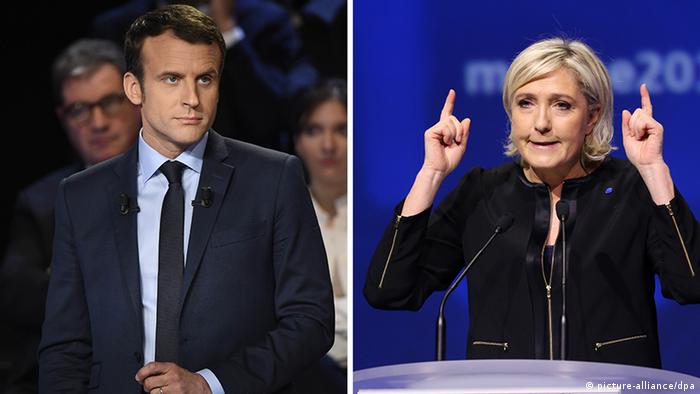 Bildcombo Frankreich Präsidentschaftswahlen Macron Le Pen