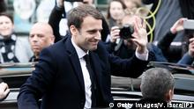 LE TOUQUET-PARIS-PLAGE, FRANCE - APRIL 23: Founder and Leader of the political movement 'En Marche !' and presidential candidate Emmanuel Macron leaves his home on the day of voting for the first round of the French Presidential Election on April 23, 2017 in Le Touquet-Paris-Plage, France. France is going to the polls for the first round of a tightly contested presidential election, which could impact the future of the European Union. The second round will take place on May 7. (Photo by Vincent Isore/IP3/Getty Images)