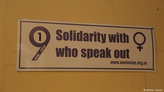 A sign at the campaign headquarters reading 'Solidarity with who speak out