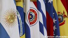 FILE- Flags of countries members of Mercosur at XLIII summit, June 28, 2012, Mendoza, Argentina. Photo: Diego Pares/dpa (zu dpa «Jenseits von TTIP: Freihandel mitSüdamerika soll kommen» vom 23.03.2016) +++(c) dpa - Bildfunk+++ | Verwendung weltweit