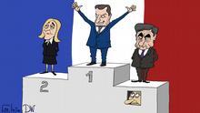 Karikatur von Sergey Elkin - Präsidentschaftswahlen in Frankreich