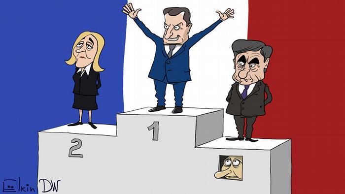 Эмманюэль Макрон, Марин Ле Пен и Франсуа Фийон на лесенке почета - под третьим местом окошко, из которого выглядывает Путин. Карикатура Сергея Елкина