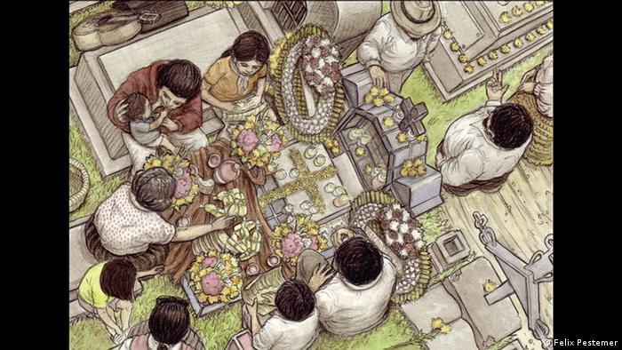 روز مردگان از تعطیلات مهم در مکزیک محسوب میشود. مکزیکیها که در این روز یاد ازدسترفتگان خود را گرامی میدارند، ضیافت پیکنیک خود را بر سر گور عزیزانشان برگزار میکنند. فلیکس پستمر (Felix Pestemer)، نقاش معاصر آلمانی این رسم را در اثری که در سال ۲۰۱۲ خلق کرده، به تصویر کشیده است.