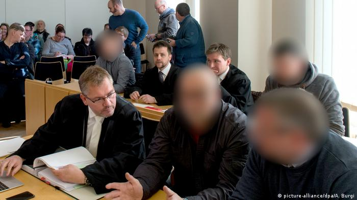 Four men accused of attacking a refugee in Arnsdorf appear in court in 2017