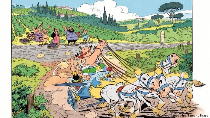 Asterix in Italien: Abschiedsszene: Asterix und Obelix reisen mit ihrem Pferdegespann ab, im Hintergrund winken Einheimische
