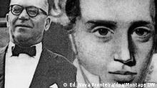 Sören Kierkegaard Undatierte Kohlezeichnung des dänischen Theologen, Schriftstellers und Philosophen Sören Kierkegaard. Er wurde am 5.5.1813 in Kopenhagen geboren und starb am 11.11.1855 ebenda. Zu seinen bekanntesten Werken zählen Furcht und Zittern (1843), Philisophische Bissen und Der Begriff der Angst (beide 1844). ### Brasilianischer Autor João Guimarães Rosa Brasilianischer Autor João Guimarães Rosa