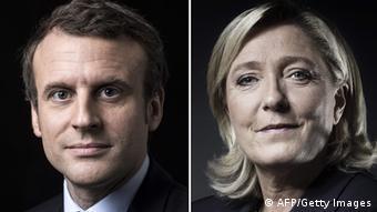 Frankreich Bildkombo Emmanuel Macron und Marine Le Pen