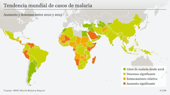 Infografik Karte Entwicklungstendenz von Malaria-Infektionen SPA