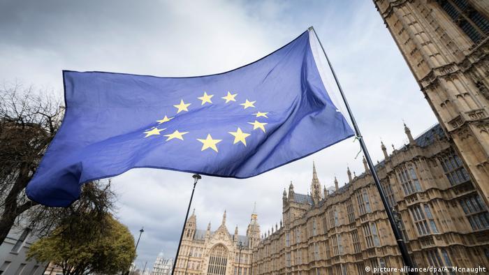 An EU flags waves in London