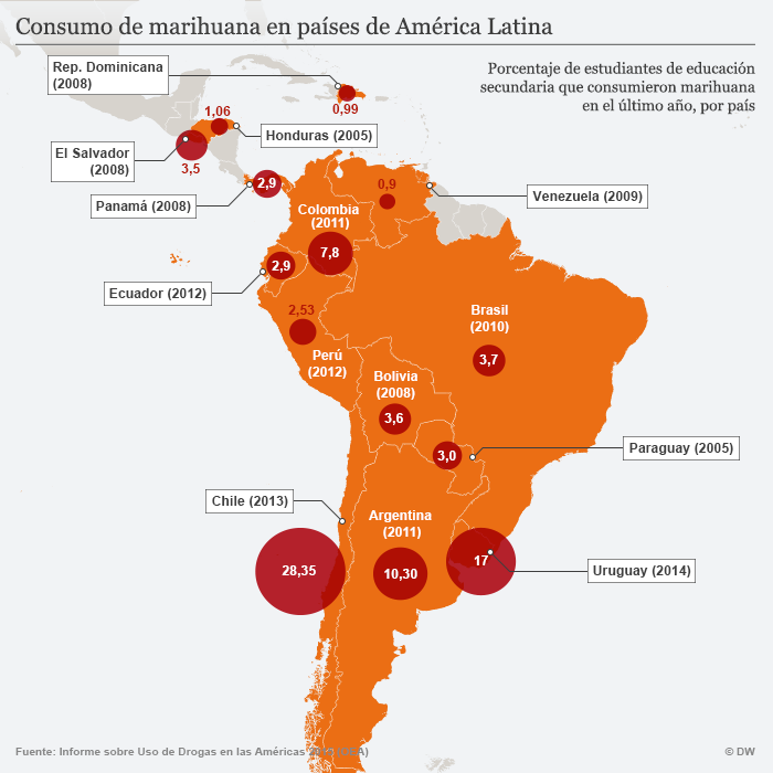 Infografik Karte Cannabis-Konsum in Lateinamerika