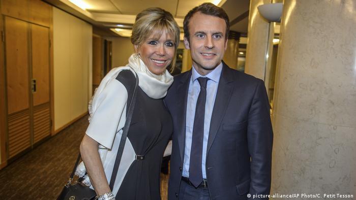 Frankreich Präsidentschaftswahl 2017   Emmanuel Macron & Ehefrau Brigitte Trogneux
