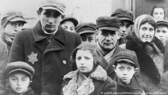 Jews wearing Star of David badges in the Lodz Ghetto in Nazi-occupied Poland