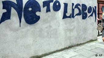 Anti-Lisbon Graffiti is seen scrawled on a wall in Dublin, Ireland