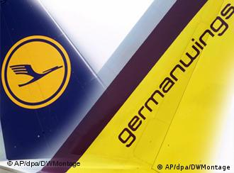 Respective company logos on Germanwings and Lufthansa jets