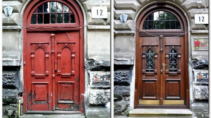 Оновлення старої частини Львова Одним із перших проєктів, який GIZ розпочало у Львові, стало відновлення старої частини міста. Проєкт тривав з 2009 до 2017 року. За цей час, за даними Львівської міськради, вдалось відреставрувати 82 балкони, майже 900 вікон, 5 сходових кліток і 200 брам, а також оновити 16 дворів. У цей проєкт GIZ вклало понад 8 мільйонів євро.