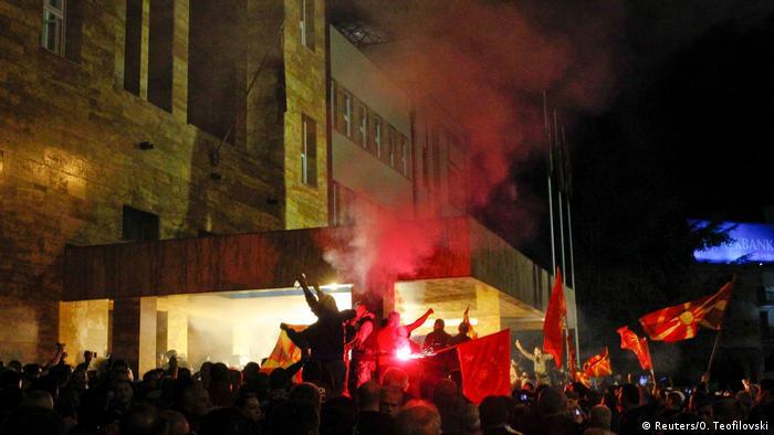 Demonstrators storm Macedonia's parliament in Skopje.