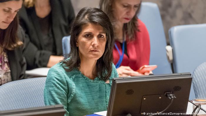 USA Vereinte Nationen zur Lage in Syrien Nikki Haley (picture-alliance/Zumapress/A. Lohr-Jones)