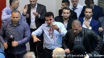 Mazedonien Proteste im Parlament