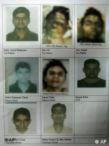 Eight of the nine suspected Islamic militants killed during last month's attack on Mumbai in a photo released by Indian police
