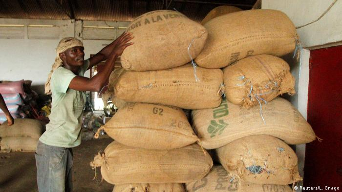 Bags of cocoa fill a warehouse in Agboville, Ivory Coast.