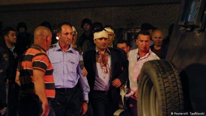 Mazedonien Skopje Ausschreitungen Parlament Parlamentarier (Reuters/O. Teofilovski)