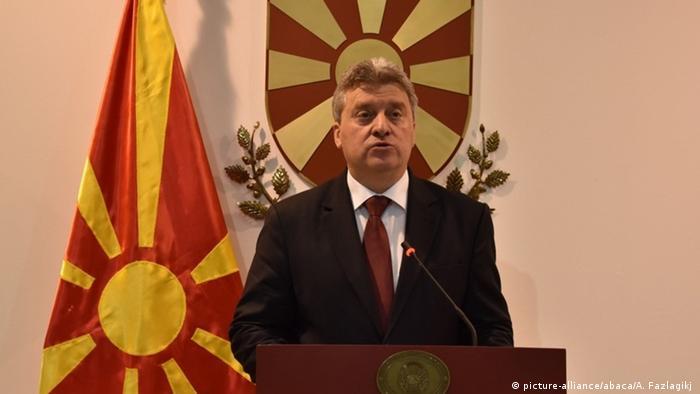 Mazedonian Präsident Gjorge Ivanov PK (picture-alliance/abaca/A. Fazlagikj )