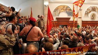 Από τα επεισόδια στη βουλή της ΠΓΔΜ τον Απρίλιο του 2017