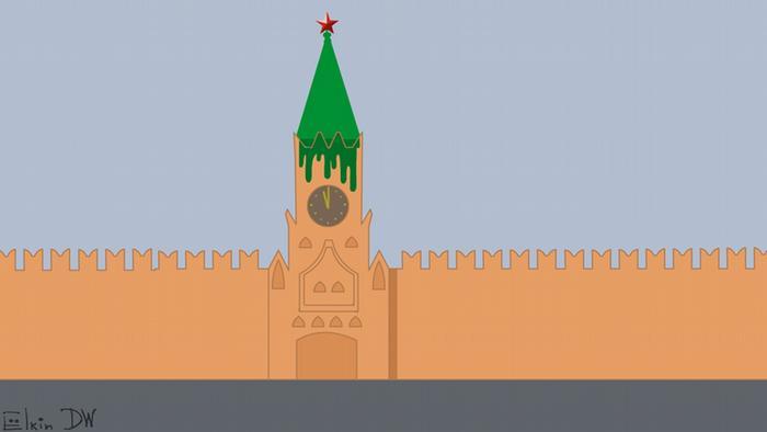 Karikatur von Sergey Elkin- Farbattacke auf den Kremlkritiker Nawalny