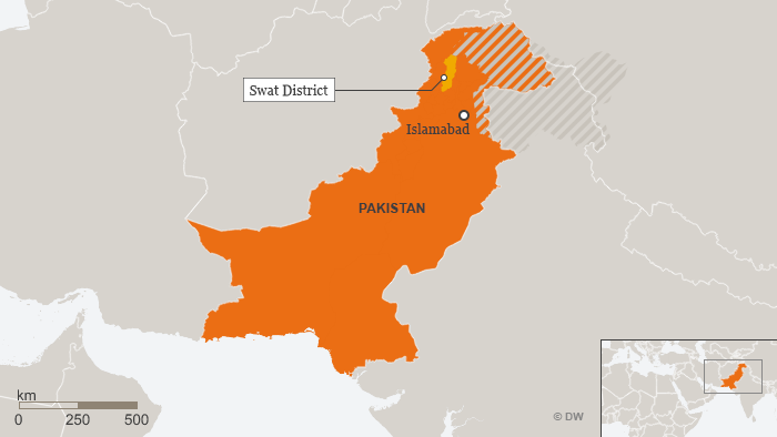 A map of Pakistan highlighting the Swat District