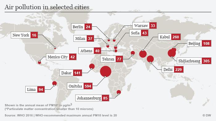 Картата показва стойностите на замърсяване на въздуха в някои градове в света по данни на СЗО от 2016 година