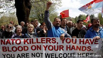 Акция протеста против вступлении Черногории в НАТО 28 апреля 2017 года